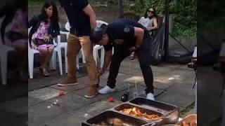 Funny party game with aubergines and tomatoes