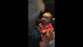 Deaf Grandmother teaches 9 weeks old Deaf baby sign language (Aria Belle)