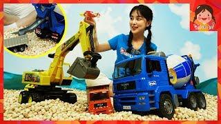 wooden chip bruder man cement mixer truck Poclain construction site treasure hunt magnet kids [yura]