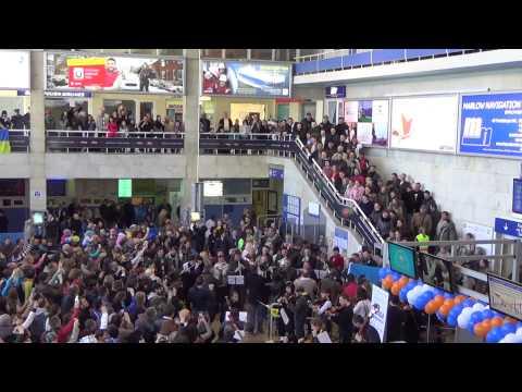Odesa Airport flash mob, EU anthem