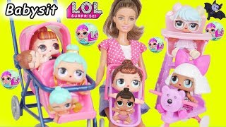 LOL Surprise Dolls take Lil Sisters to Barbie Babysitter