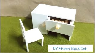 DIY Cute Miniature Table & Chair Tutorial - Dollhouse | Làm Bộ Bàn Học Tí Hon | by Kidz World