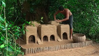 Abandoned Puppies Build Room Mud Dog House And Fish Pond Moat to Prevent Insect
