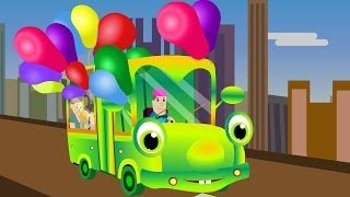 The Wheels On The Bus Go Round And Round - Popular English Nursery Rhymes with Lyrics