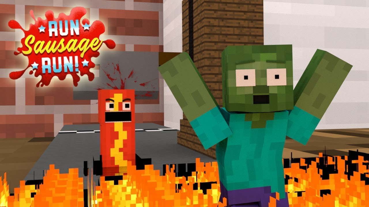 Monster School : RUN SAUSAGE RUN CHALLENGE - Minecraft Animation
