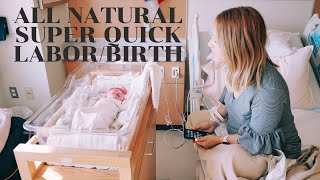All Natural Labor | Super Quick 3 hour Labor | Bravely Ray Birth Vlog | Baby #3 Labor and delivery