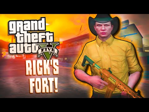 Rick's Secret Fort! - GTA 5 - Killing CORAL! Being Chased, Naked People, WALKERS!!and More!