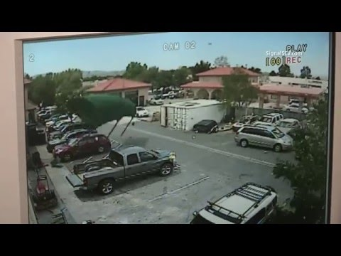 Strong Winds Blow 1,500 Lb. Canopy Across Parking Lot