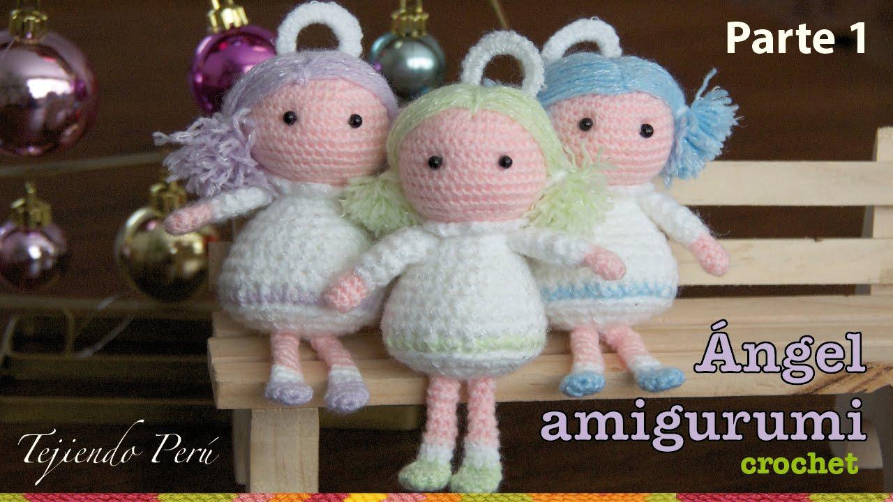 Tutorial Amigurumi Esperanza Rosas : angel tejido a crochet amigurumi (Parte 1) - YouTube