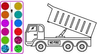 Dạy bé vẽ và tô màu Xe tải chở cá (Truck car drawing and coloring for kids)
