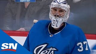 Connor Hellebuyck Goes For Goalie Goal, Bo Horvat Swats It Down
