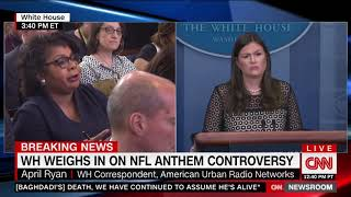 April Ryan and Sarah Sanders Have Contentious Exchange Over National Anthem