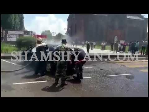 Արտակարգ դեպք Շիրակի մարզում. Գյումրու Վարդանանց հրապարակում Mercedes է վառվել