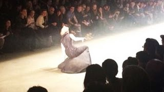 3 Models fall during the Dennis Diem Fall/Winter 2014 fashion show, VIDEO AND PHOTOS