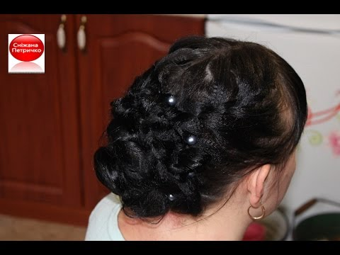 Christmas. New Year's eve hairstyle with braids for long hair tutorial