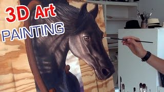 Drawing a HORSE in 3D / anamorphic speed painting