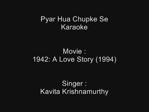 Pyar Hua Chupke Se - Karaoke - 1942 A Love Story (1994) - Kavita Krishnamurthy video