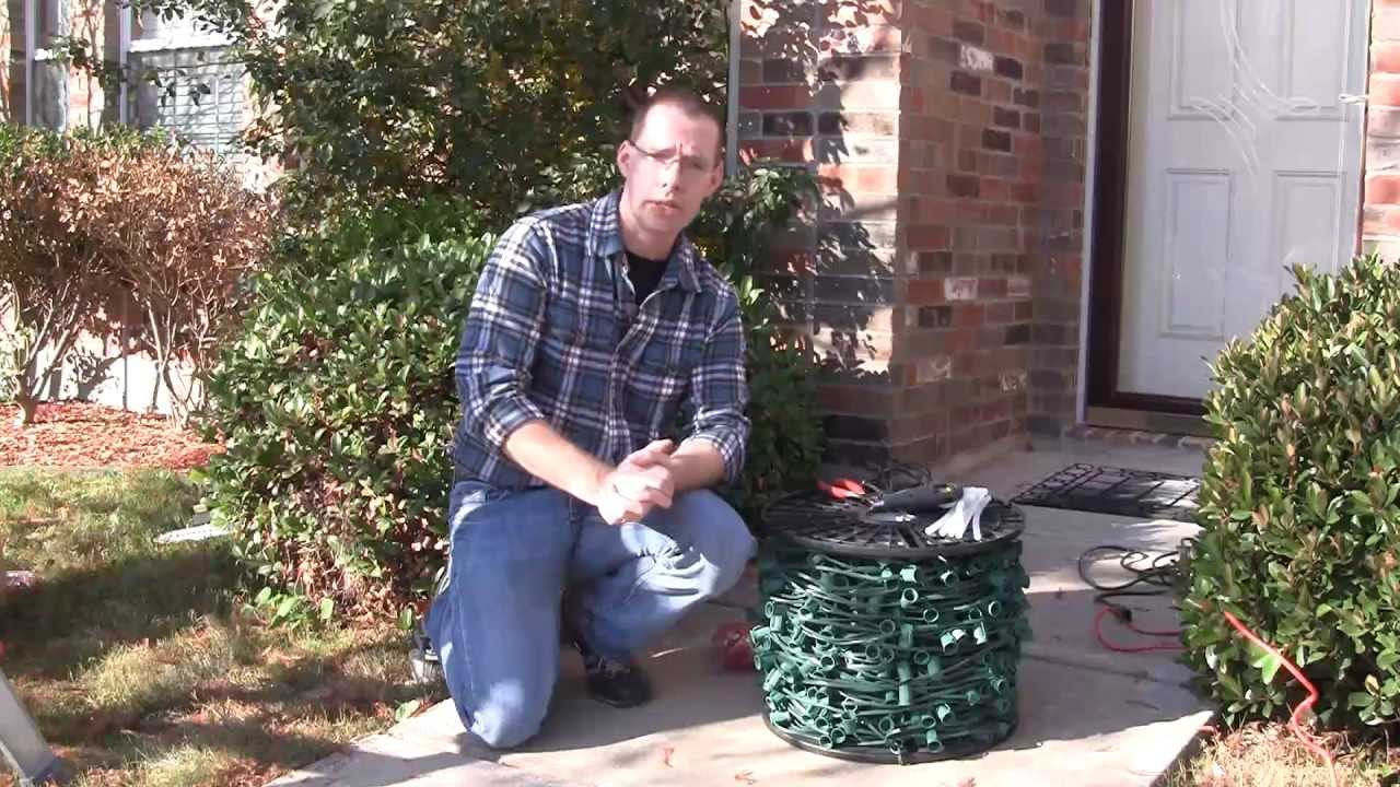 Using Hot Glue To Attach Christmas Lights To Brick