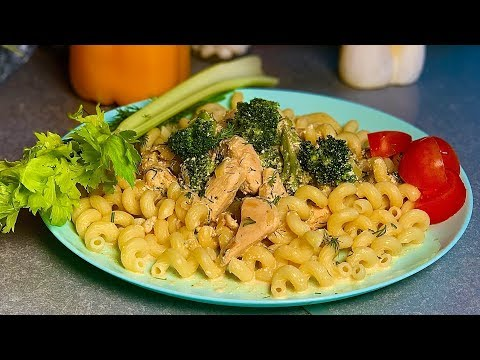 PASTA, CHICKEN AND BROCCOLI IN A CREAMY SAUCE