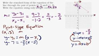 Given Two Points Find the Standard Form Equation of a Line ...