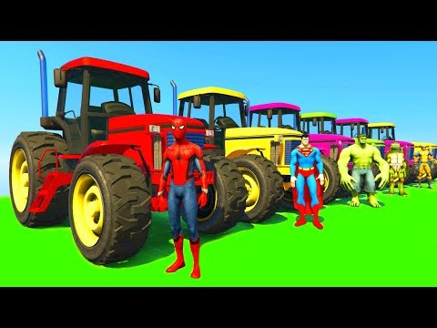 Learn Colors with Tractor & Jetski w Superheroes Cartoon Animation for Kids & Babies Nursery Rhymes