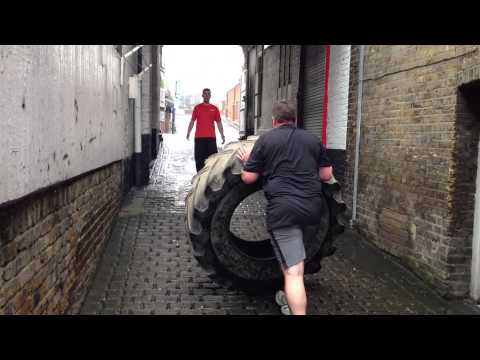 Tyre Flipping at Bodyline Fitness Ealing