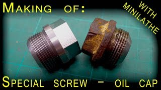 Making of: Special screw [cutting thread on mini lathe, Making hex head]