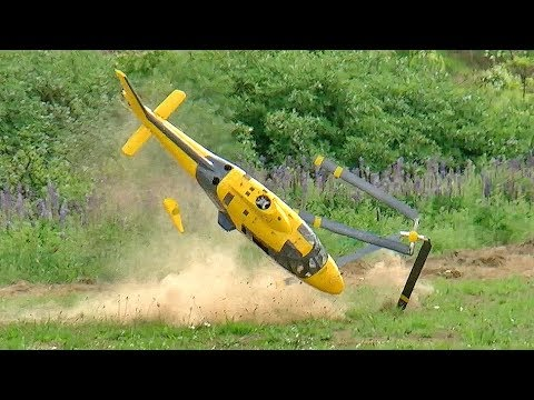 GIGANTIC RC HELICOPTER CRASH HUGE RC AGUSTA A-109 SCALE MODEL TURBINE HELICOPTER FLIGHT AND CRASH
