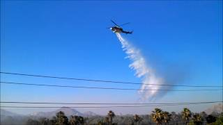 Helicopter Water Drops at River Bottom Fire: Riverside, Ca 5-30-2014