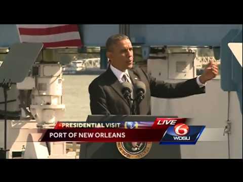 President Obama speaks on economy, health care at Port of New Orleans