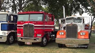 Classic Peterbilt, Kenworth and Mack Trucks Leaving Brooks Truck Show