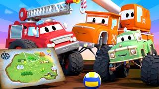 Monster Town - The Buried Treasure !  Monster Trucks Cartoon for Children