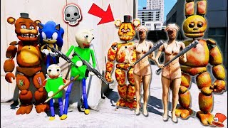 Can Freddy & Baldi & Sonic BEAT the Evil DreadBlood Animatronics & Nurse Monsters? (GTA 5 Mods)