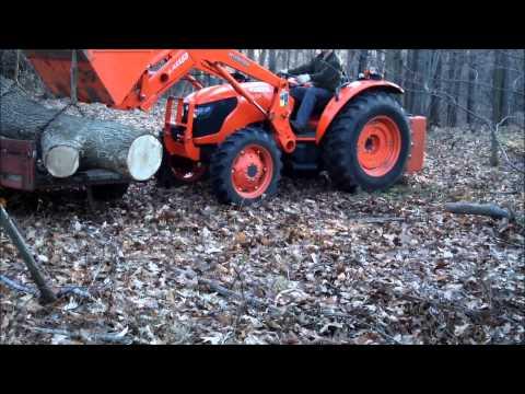 Kubota M7040 Lifting Large Oak Log