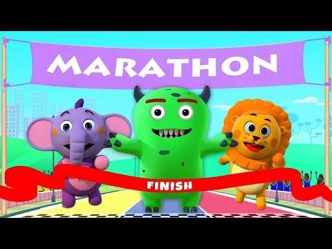 Funny Animals Running Race for Kids | Colors with Wild Animals | ABC Learning Club