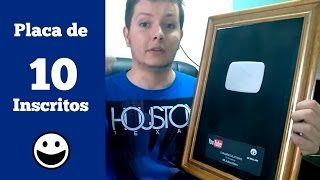Placa de 10 Inscritos do Youtube 🔴