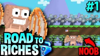 NOOB WITH DA VINCI WINGS!? | Road To Riches #1 | Growtopia