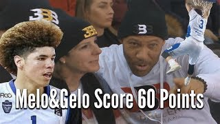 LiAngelo & LaMelo Ball DOMINATE in front of TINA BALL COMBINE TO SCORE 60 POINTS