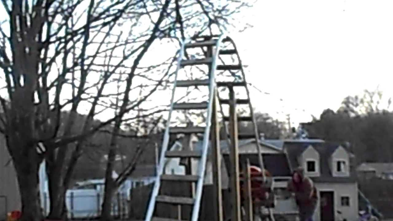 back yard pvc roller coaster with a 12 ft drop   youtube
