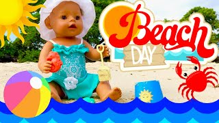 ⛱Beach Time With Baby Born! 🏖First Beach Outing With Baby Born Bella, Skye & Caden!🦀