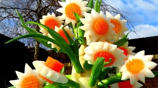 How to Make Carrot Radish Flowers - Vegetable Carving Garnish - Sushi Garnish - Food Decoration
