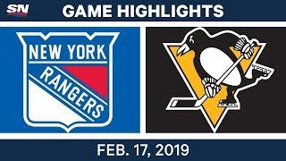 NHL Highlights   Rangers vs. Penguins - Feb 17, 2019