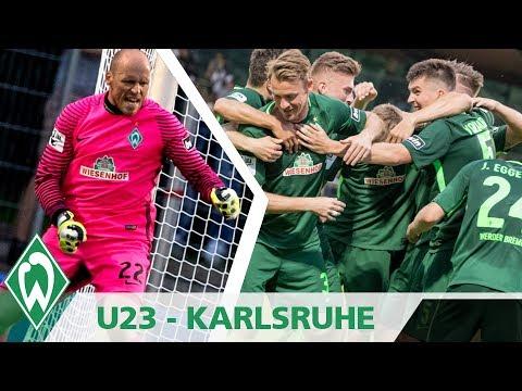 Der perfekte Fu�ballabend für die U23 des SV Werder Bremen: 2500 Zuschauer, Flutlicht und ein 2:0-Erfolg über den Aufstiegsfavoriten Karlsruher SC durch Tore von Leon Jensen und Rafael Kazior....