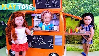 Our Generation Doll Food Truck with Play Toys Cooking!