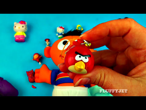 Play-Doh Baby Ernie Surprise Eggs Cars Toy Story Monsters Inc Disney Angry Birds Spongebob FluffyJet