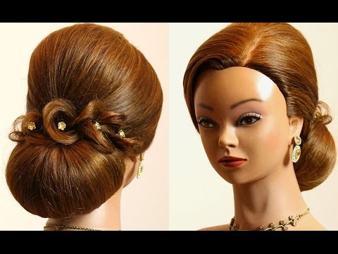 Hairstyle for long hair tutorial. Prom  bridal updo.