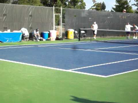 Rory McIlroy Watching Caroline Wozniacki Practice In Cincinnati 8-14-2011