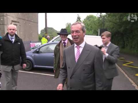 Nigel Farage on his way to vote in Kent