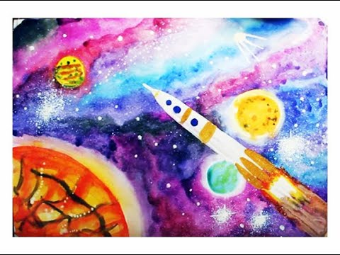 Как нарисовать космос видео для детей