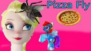 Disney Frozen Queen Elsa +  My Lie Pony MLP Rainbow Dash Cook Pizza,  Shoo Fly